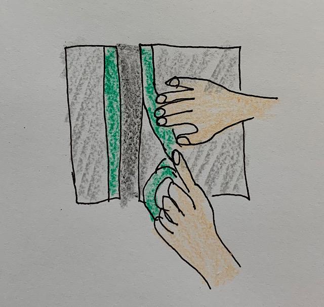 マスキングテープの貼り付け