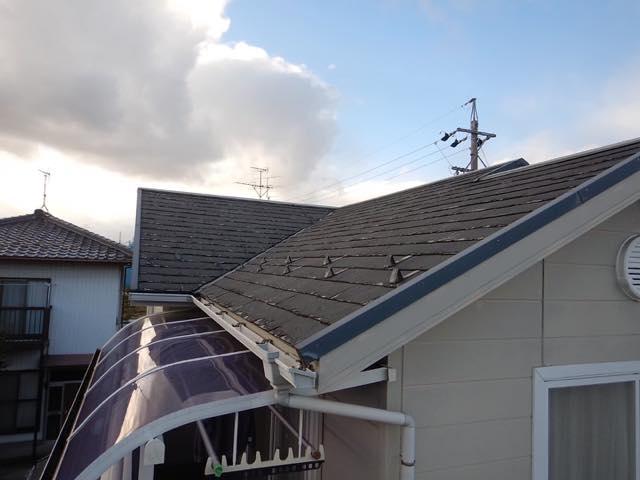 ボロボロになったスレート屋根