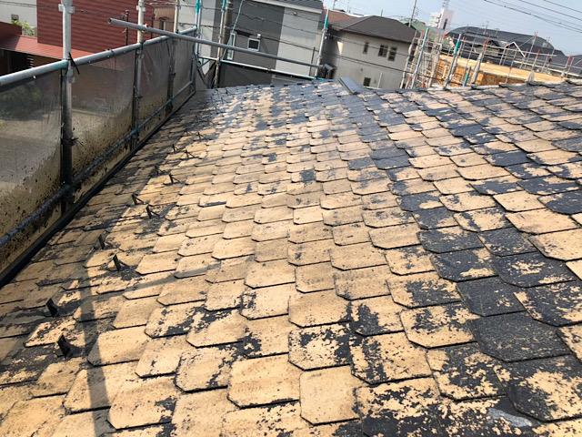 スレート屋根洗浄中