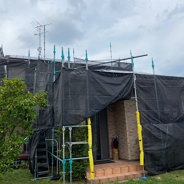 羽島市で足場組み立て作業完成