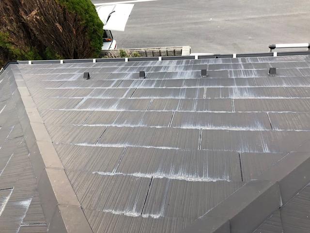 スレート屋根が白くなっている