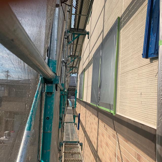 羽島市で外壁塗装工事前に養生