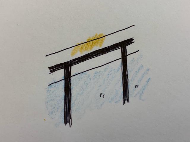門や塀の色あせのイラスト