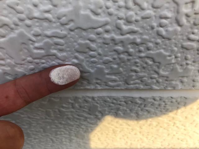白い粉がべったりと