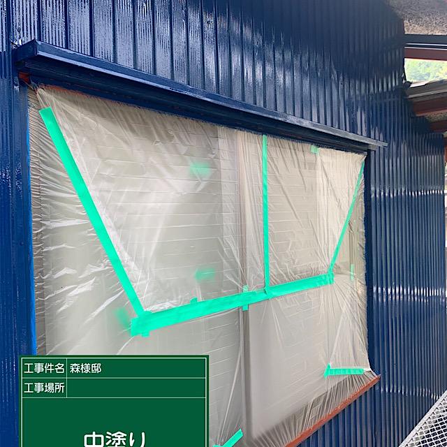外壁板金塗装窓周り中塗り工事