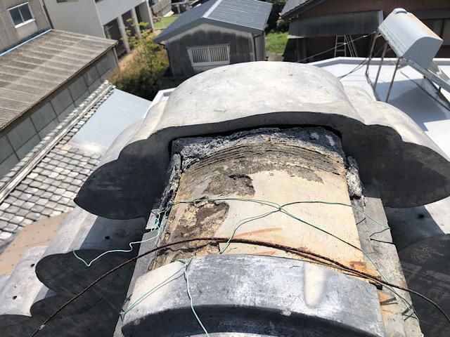 岐阜市 棟の瓦が劣化