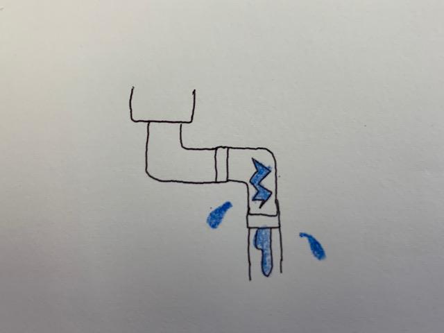 雨樋のひび割れのイラスト