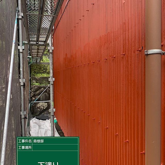 外壁板金波トタンの錆止め塗装