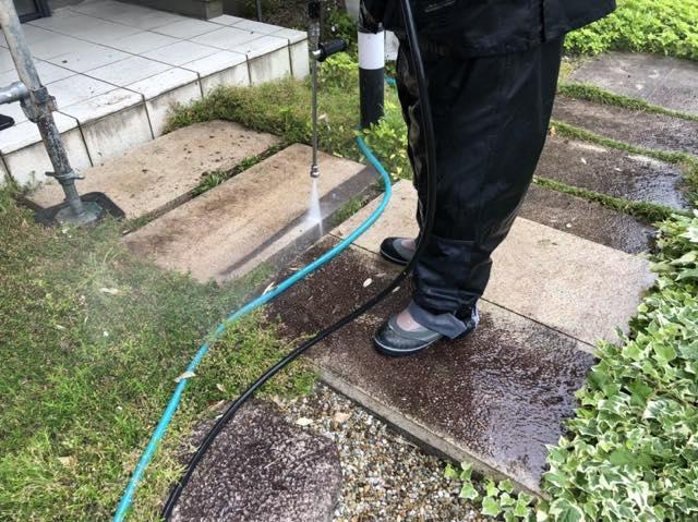 石畳の洗浄