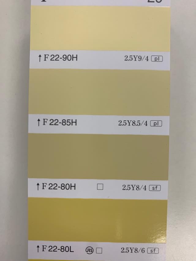 室内での黄色塗料